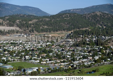 Golf Course by Kelowna in the mountains - stock photo