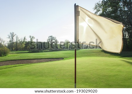 Golf course detail with the white flag in front  - stock photo