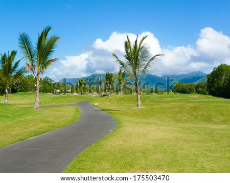 Golf course in Port Douglas Australia on a sunny day - stock photo
