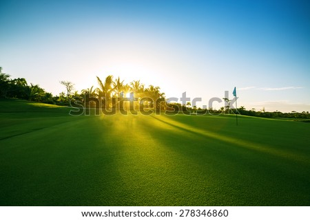 Golf course in the countryside - stock photo