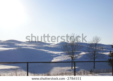 golf course in winter - stock photo