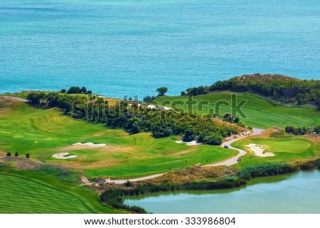 Golf Course near the Sea - stock photo