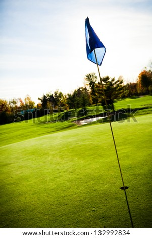 Golf course on abeautiful summer day - stock photo