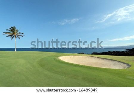 Golf Course on Lava Ocean Shore of Kona Island, HI