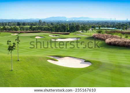 golf course sport, Golfing Holidays in Thailand - stock photo