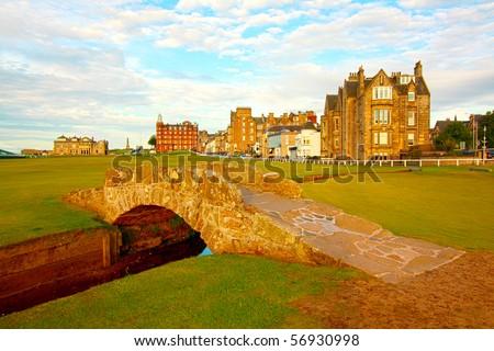 Golf course,Swilcan Bridge, St Andrews - stock photo