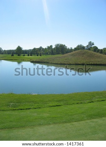golf course water hole taiwan - stock photo