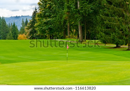 Golf course with gorgeous green and golf flag. - stock photo