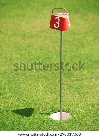 Golf course with hole and flag