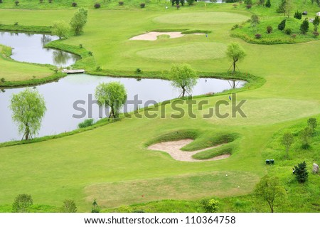 Golf courses and lakes - stock photo