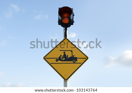 Golf Crossing Sign - stock photo