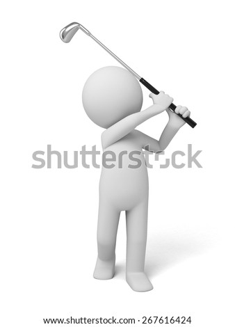 golf/3d people playing golf. 3d image. Isolated white background - stock photo