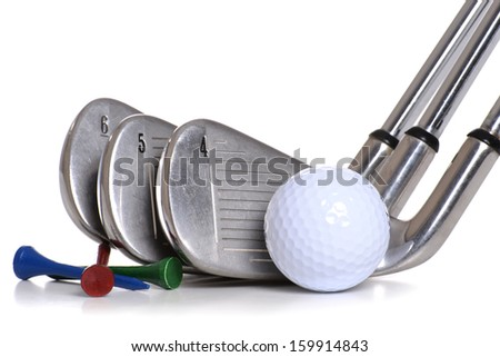 golf equipment clubs ball tees isolated white background
