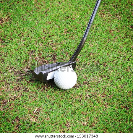 Golf equipment, golf ball with tee on course and stick - stock photo