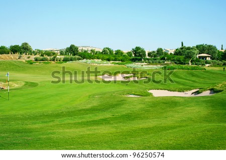 Golf field in Cyprus mountain village.