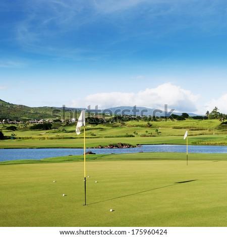 golf field on Mauritius island - stock photo