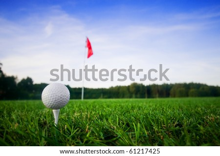 Golf field with green grass and red flag.
