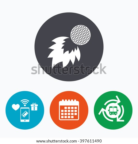 Golf fireball sign icon. Sport symbol. Mobile payments, calendar and wifi icons. Bus shuttle. - stock photo