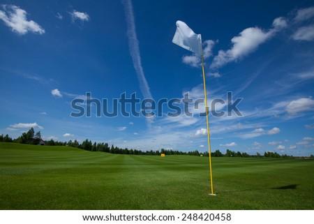 Golf flag club field grass course active leisure sky - stock photo
