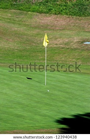Golf flagpole (the pin), Rio Real Golf Club, Marbella, Costa del Sol, Malaga Province, Andalusia, Spain, Western Europe. - stock photo
