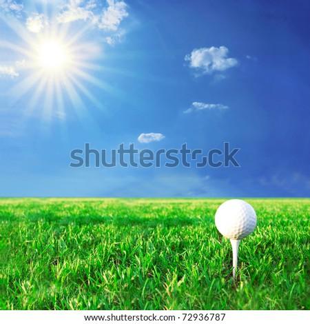 Golf game. Golf ball in grass. - stock photo