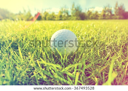 Golf game. Golf balls in grass. Instagram vintage picture. - stock photo