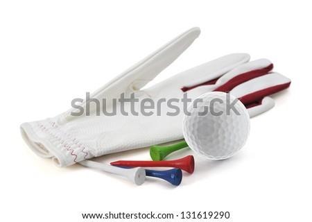 Golf Glove, tee, ball - stock photo