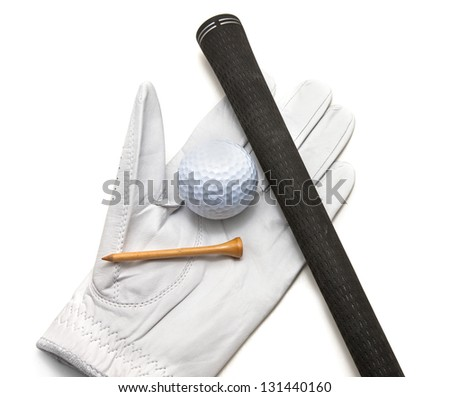 Golf glove wit ball tee and grip on top. - stock photo