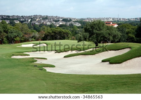 Golf Hole with bunkers