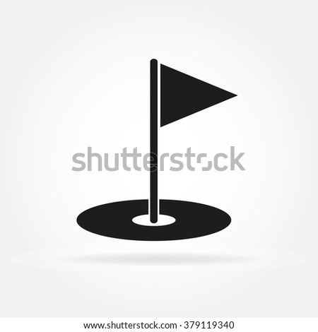 Golf hole with flag. Golf court icon in flat style. - stock photo
