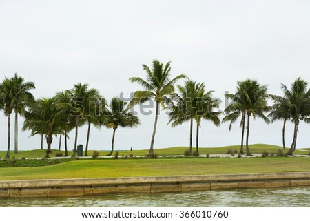 Golf in resort, morning on the golf, Cape Coral Florida, USA - stock photo