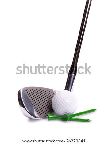 Golf Iron, White Ball, Green Tees on White Background - stock photo