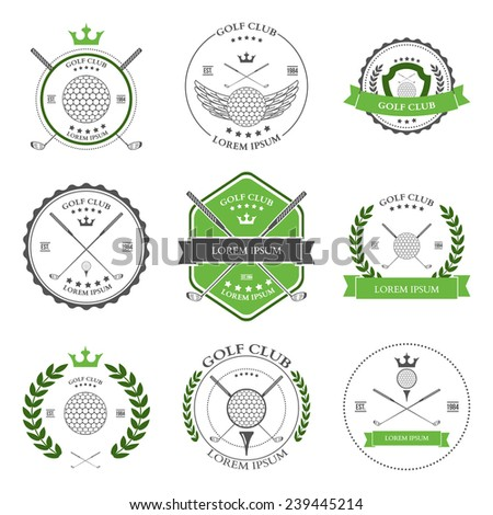 Golf labels and icons set. illustration