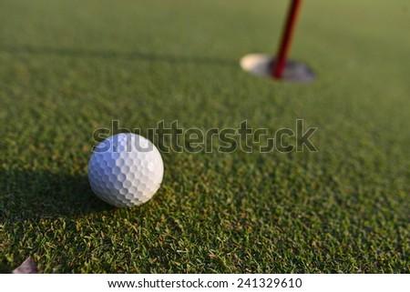 Golf on green - stock photo