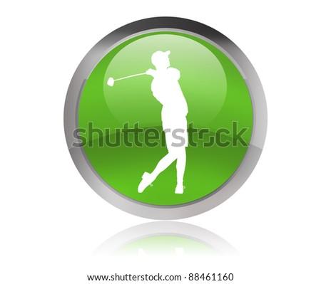 golf player button - stock photo