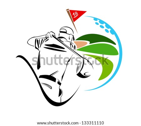 Golf player illustration - stock photo