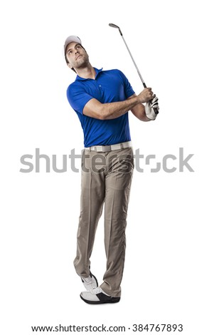 Golf Player in a blue shirt taking a swing, on a white Background.