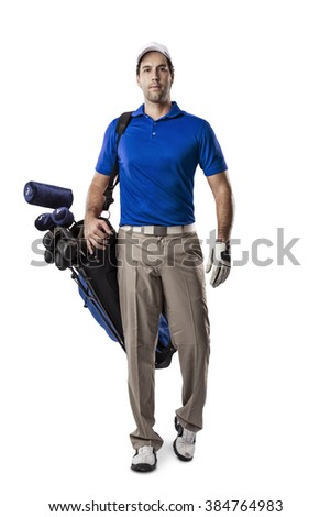 Golf Player in a blue shirt walking with a bag of golf clubs on his back, on a white Background.