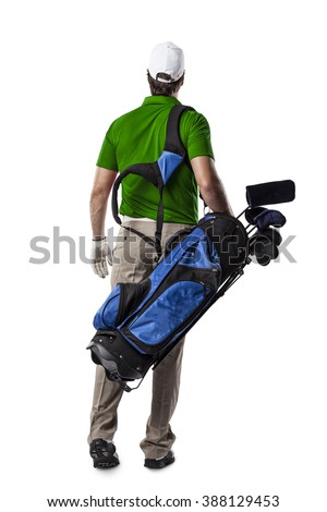 Golf Player in a green shirt walking with a bag of golf clubs on his back, on a white Background.