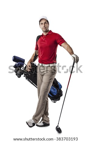 Golf Player in a red shirt, standing with a bag of golf clubs on his back, on a white Background.
