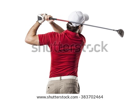 Golf Player in a red shirt taking a swing, on a white Background. - stock photo
