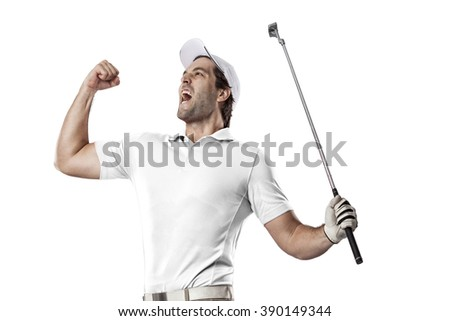 Golf Player in a white shirt celebrating, on a white Background. - stock photo