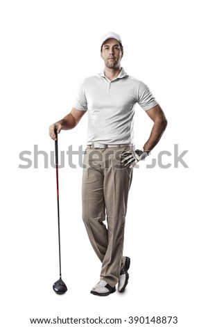Golf Player in a white shirt standing on a white Background.