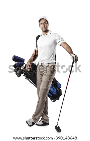 Golf Player in a white shirt, standing with a bag of golf clubs on his back, on a white Background. - stock photo