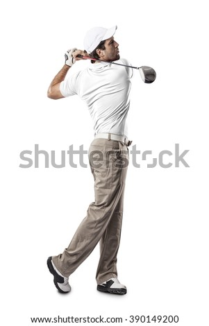 Golf Player in a white shirt taking a swing, on a white Background. - stock photo