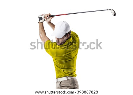 Golf Player in a yellow shirt taking a swing, on a white Background.