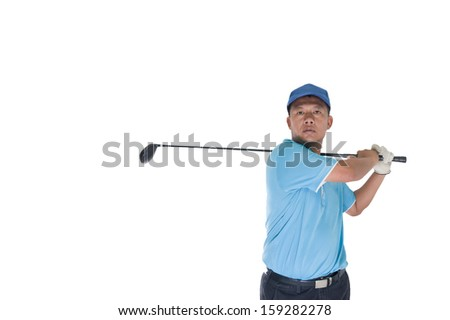 golf player shooting a ball isolated  - stock photo