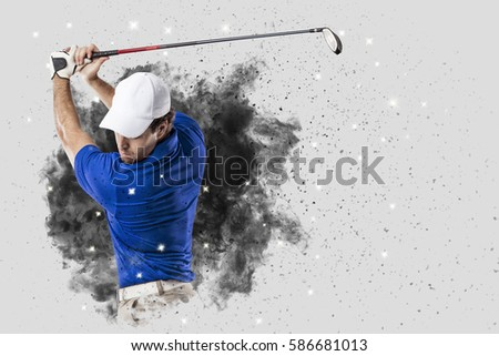Golf Player with a blue uniform coming out of a blast of smoke .