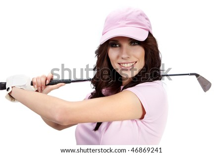Golf Player Woman. studio isolated shot - stock photo
