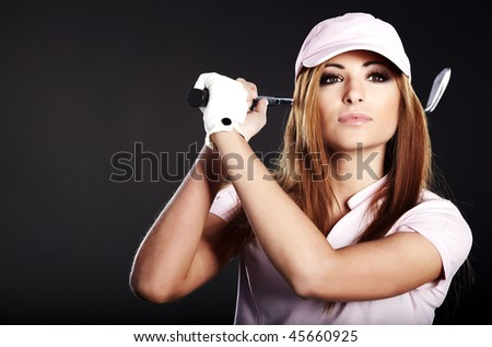 Golf Player Woman. studio  shot - stock photo